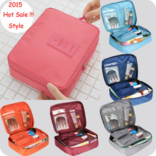 New 2015 Nylon Multifunction Make up Organizer bag Women Cosmetic bags Outdoor Travel Bag Handbag Bolsas Free shipping