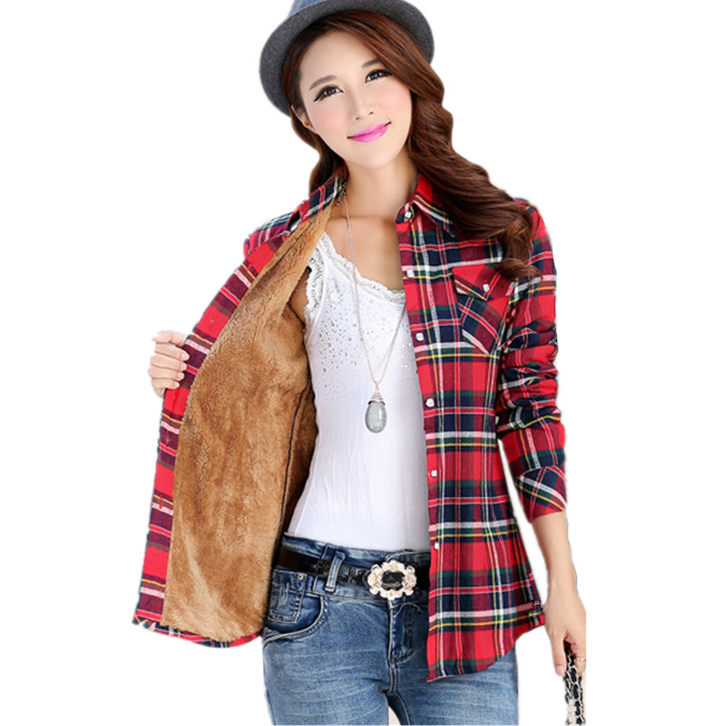 Women Winter Plus Velvet Warm Long Sleeve Cotton Slim font b Plaid b font Shirt 2016