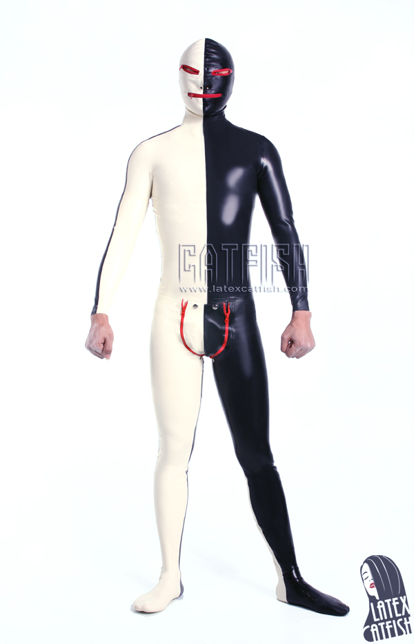 Gel coat latex clothing black-and-white jumpsuit game service costume - kingdom store