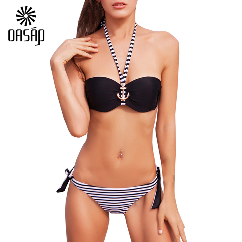 OASAP Wrap Bikini Top 2016 Anchor Decor Striped Print ...