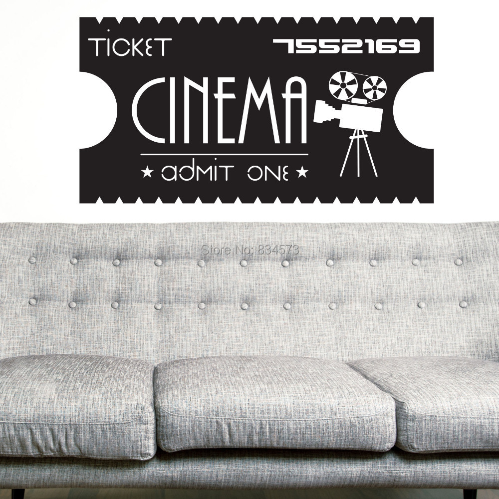 Hot Cinema Ticket Vintage Wall Art Sticker Decal DIY Home Decoration Decor Wall Mural Removable Room Stickers 57X110cm()