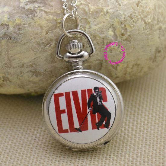 fashion Elvis Presley woman Pocket Watch Necklace fob watches girl lady child kid antibrittle kind rock n roll silver red - Chic Watches store