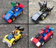 4pcs/set Marvel Minifigures Batman Superman Spiderman Action Figures Toys Plastic Building Blocks Compatible with Lego W