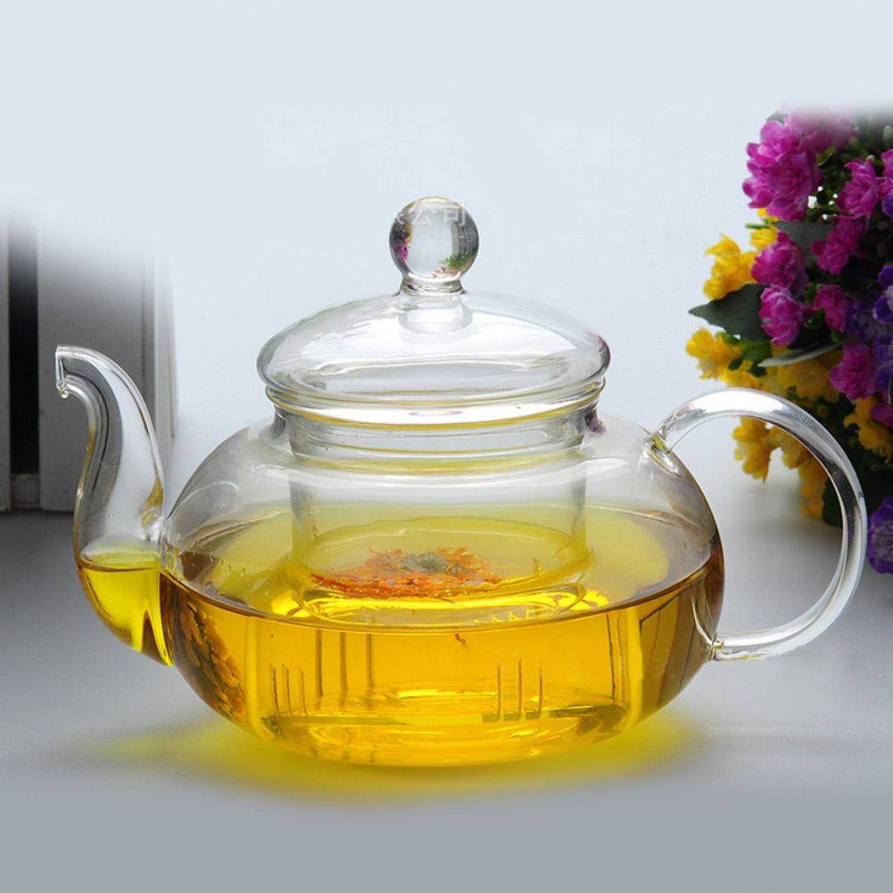Practical Resistant Bottle Cup Glass Teapot with Infuser Tea Leaf Herbal Coffee Home Office 350ML Drop Shipping(China (Mainland))