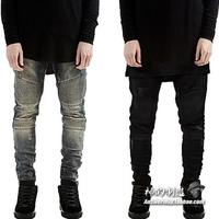 2015 Summer Mens Destroyed Denim Jeans Thin Cool Slim Fit Hi-Street Style Black Ripped Jeans Pants Men AY863