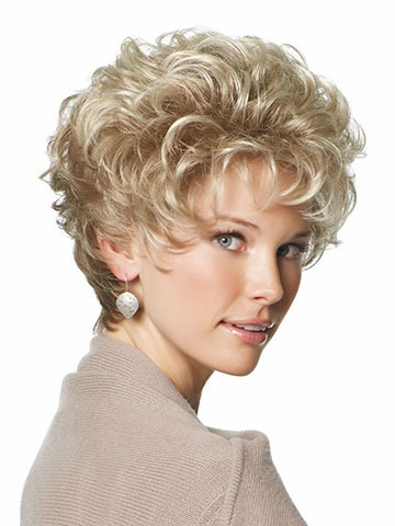 High Temperature Wire Free shipping Cheap Synthetic Wigs Short Blonde Hair Curly Wig Cap With Choppy Face-framing Bangs for Wome(China (Mainland))