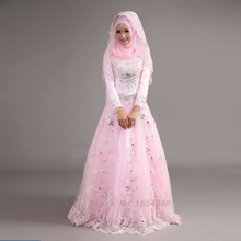 2017Charming Hijab Beads Stones Appliques Maxi Islamic Bridal Gown Vestido De Noiva Pink Long Sleeve Muslim Wedding Dresses(China (Mainland))