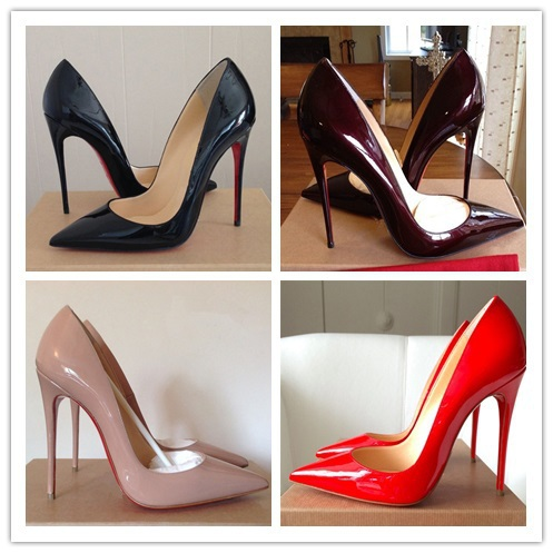 Red Bottom High Heels Brand Genuine Leather Women Pumps Pointed Toe High Heels Shoes Woman wedding shoes Plus Size 34-42(China (Mainland))