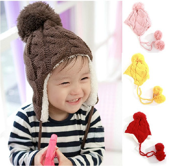 Baby Hat 5 Colors New Arrival Children Knitted Hats Winter Keep Warm Crochet Cap Girls Boys Beanie Free Shipping Drop Shipping
