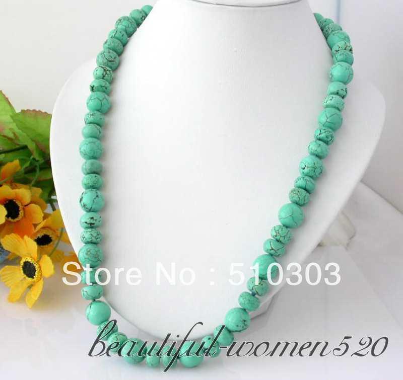 "25"" 14 mm naturel round rondelle turquoise bead necklace(China (Mainland))"