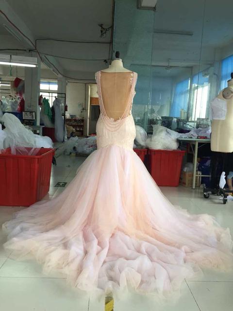 Blush Low Back Wedding Dress : Real photos blush colored mermaid wedding dress