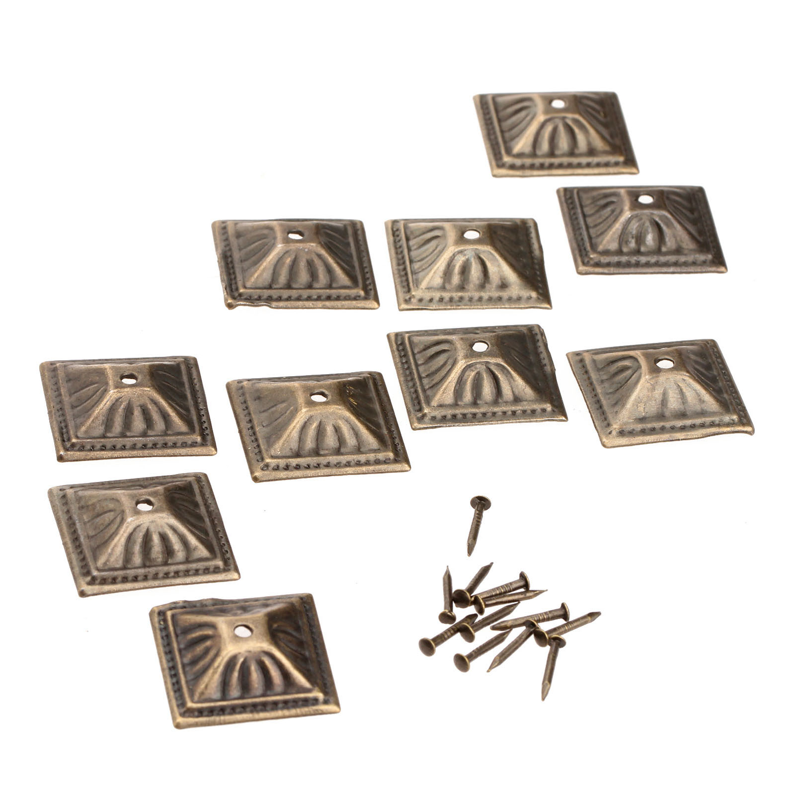 10Pcs Antique Bronze 21x21mm Square Nailhead Upholstery Decorative Nails Tack Stud Jewelry Wooden Box Furniture Pushpin Doornail(China (Mainland))