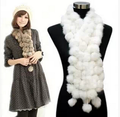 2016 New Real Natural Rabbit Fur Long Scarf for Children Girl and Boy Free Shipping FP310(China (Mainland))