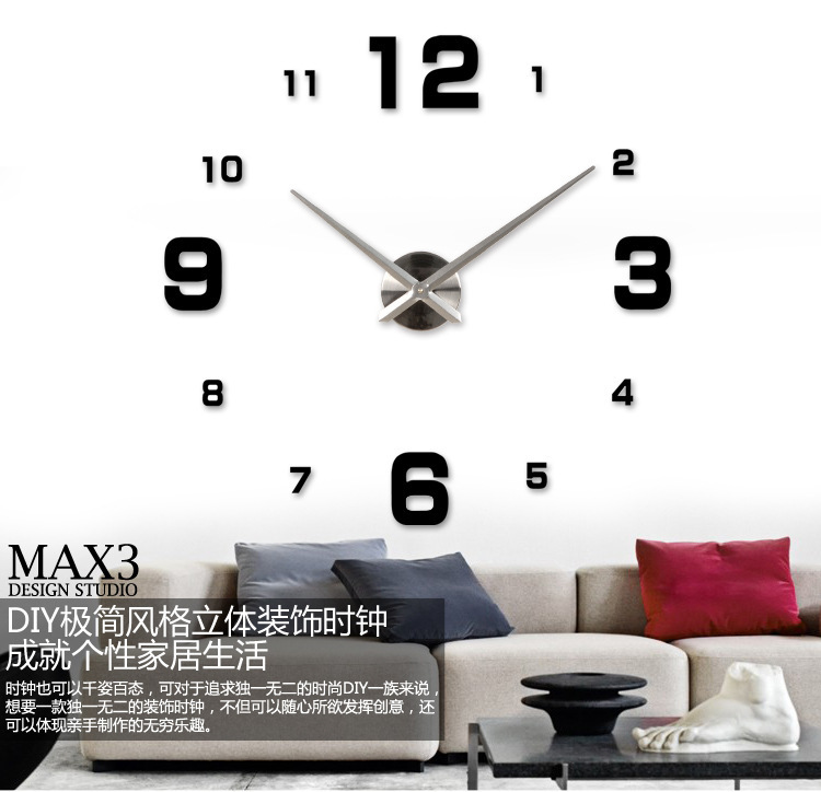 fashion 3D big size wall clock mirror sticker DIY brief living room decor meetting room wall clock diy brand wall clocks()