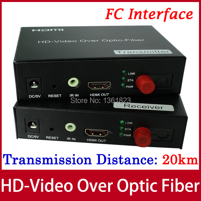 HDMI optic Fiber Extender 20Km with IR and 1080P HD-Video Over Optic-Fiber Transmitter and Receiver (FC)(China (Mainland))