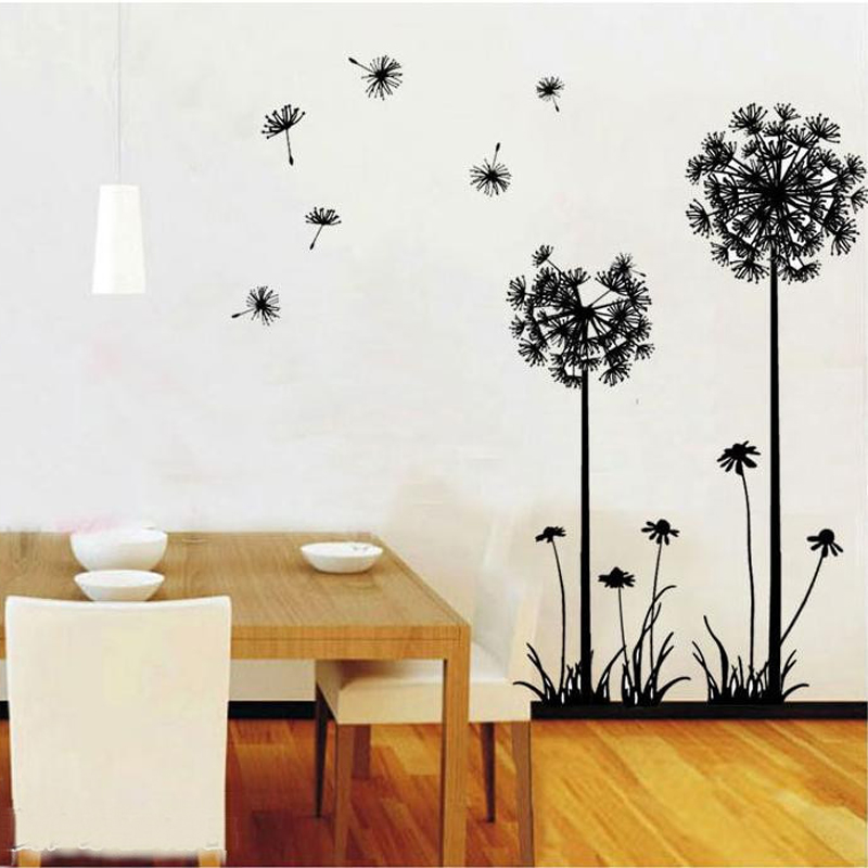 1PC Dandelion Removable Wall Stickers Vinyl Mural PVC Home Decor Living Rroom 3d Wall Sticker Decorative Wall Decals Wallpaper(China (Mainland))