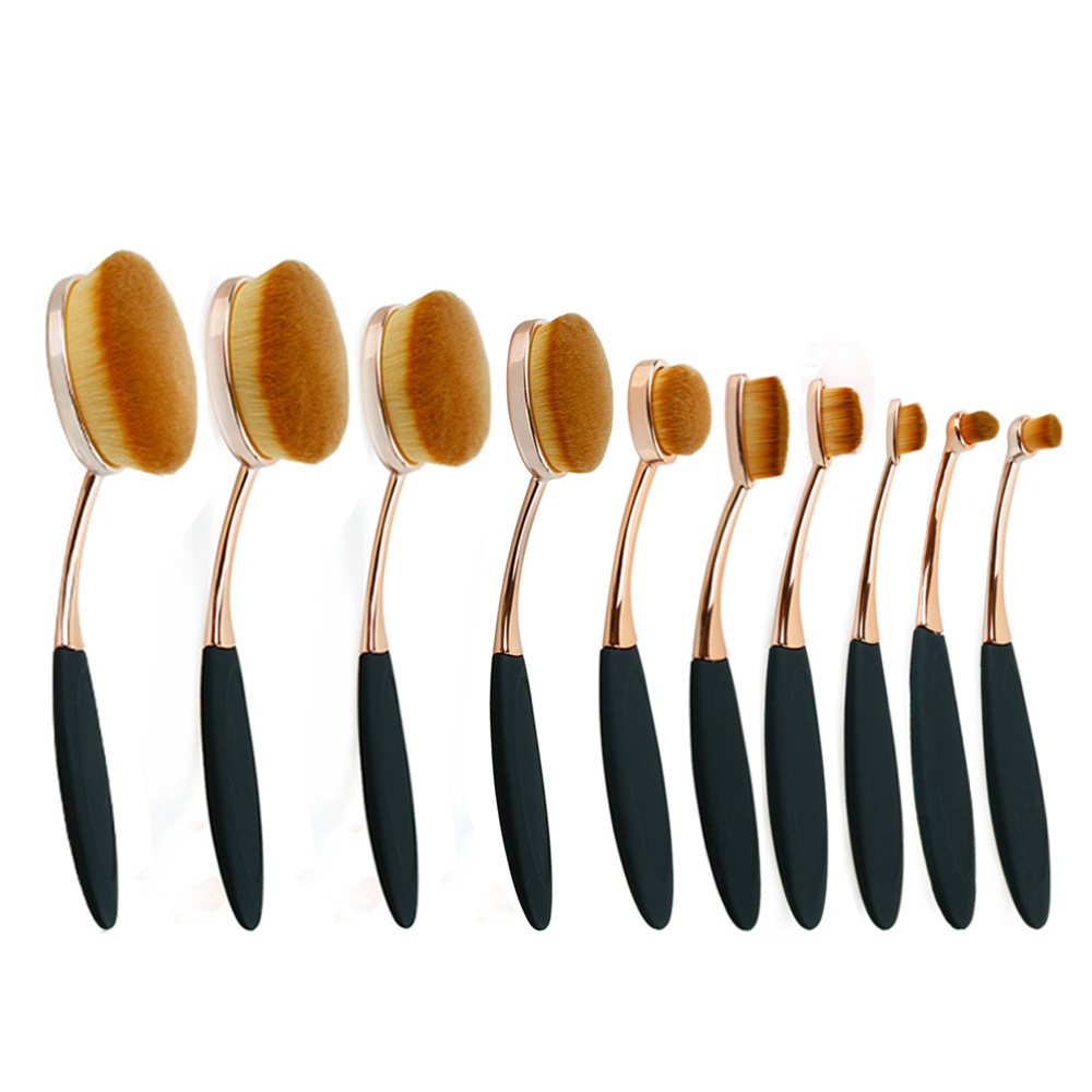 10pcs oval brush set rose gold oval makeup brush set for Stahlwandbecken oval set