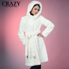 2016 Winter White Artificial Decent Mink Fur Coat with a Hood Ladies Luxury Fake Fur Coats Plus Size Women Clothing 6XL 5XL 4XL(China (Mainland))