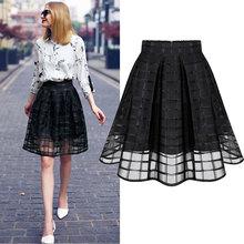2016 Summer Fashion Women High Waist Skirt School Ball Gown American Apparel Black Chiffon Mesh Sexy Skirts Womens Plus Size