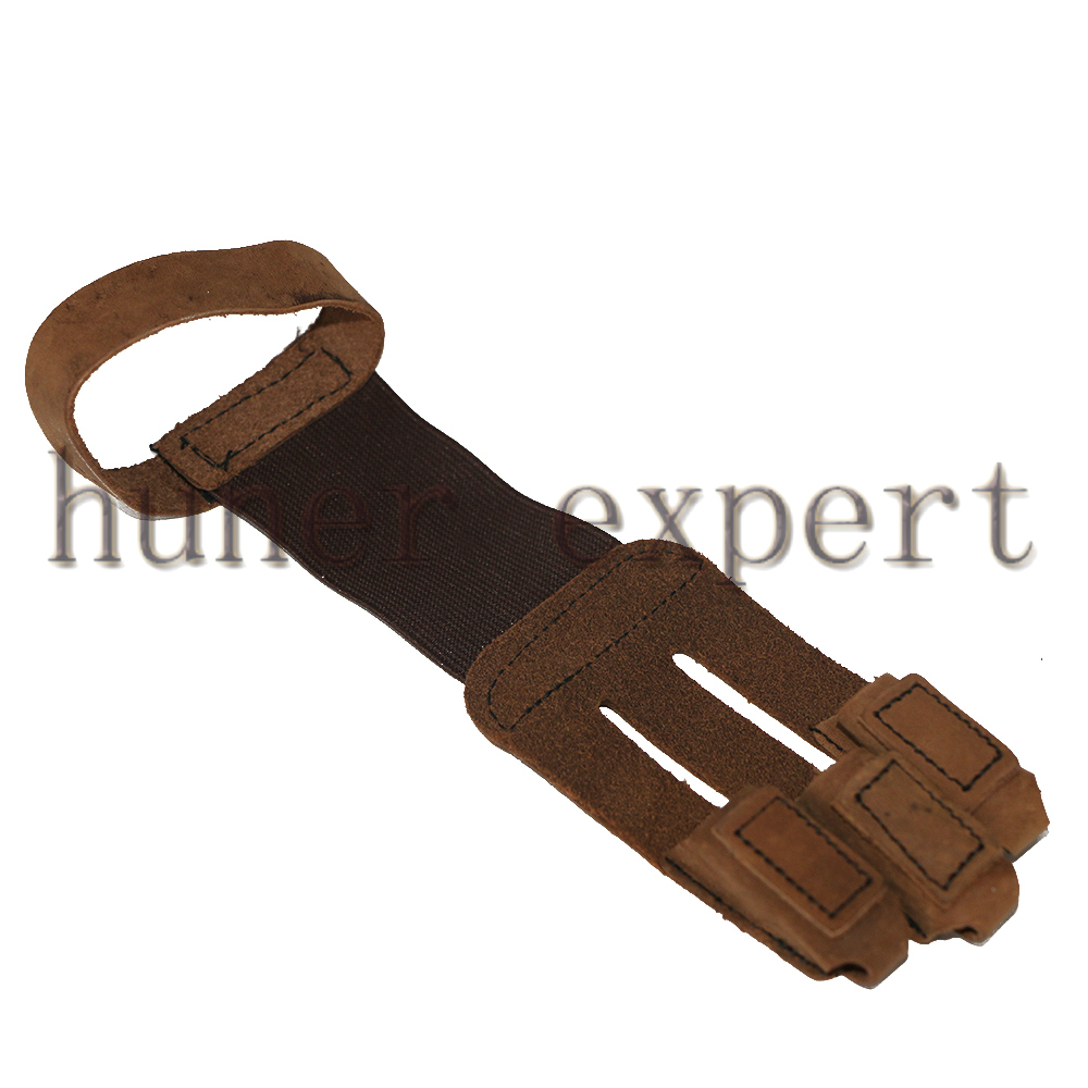1pc archery 3 fingers guard protective cowskin brown finger tab glove for recurve huntinb bow