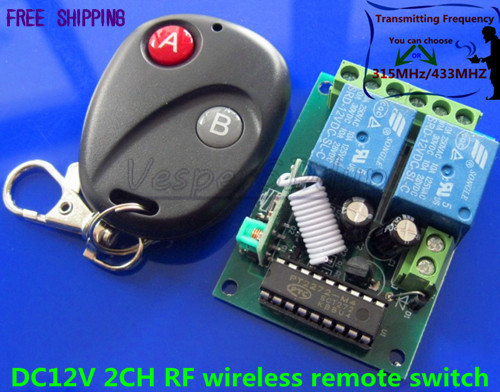 DC12V 2CH RF wireless remote control switch system Electro motor positive and negative rotation Momentary Toggle