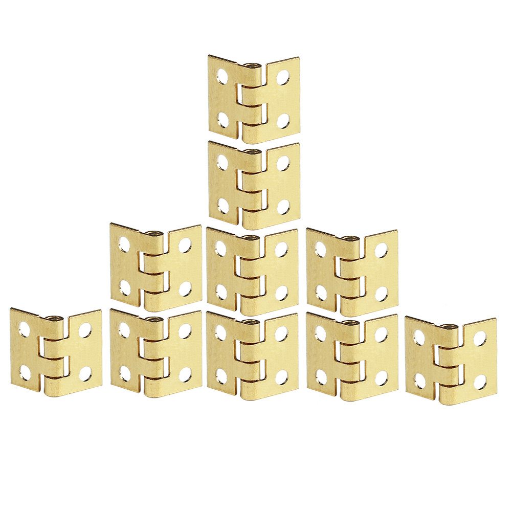 10pcs Mini Small Hinges Metal Hardwear for Dollhouse Miniatures Furniture Cabinet Closet Drawer DIY Craft Gold Tone with Nails<br><br>Aliexpress