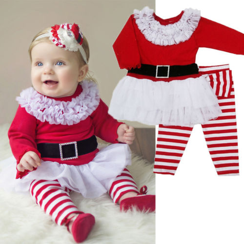 Xmas santa claus costume toddlers baby girls lace two