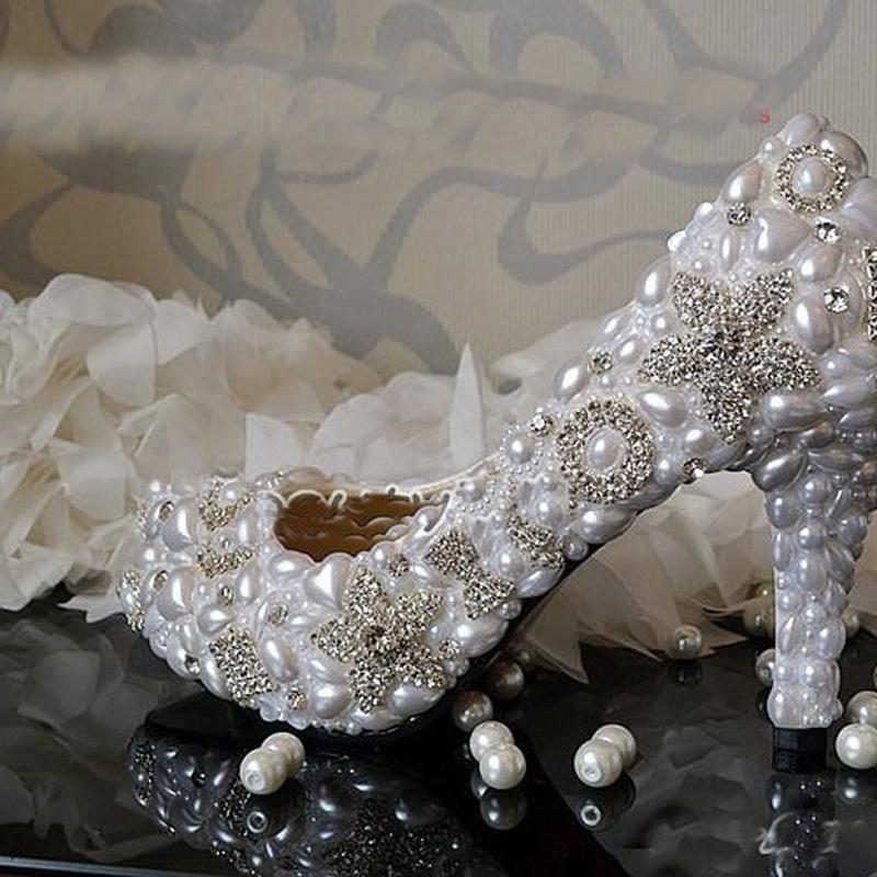 2014 Handmade White 8.5cm Heel Wedding Dress Shoes Sparkling Rhienstone Bridal Shoes Dancing Party Prom Shoes Evening Dress Shoe