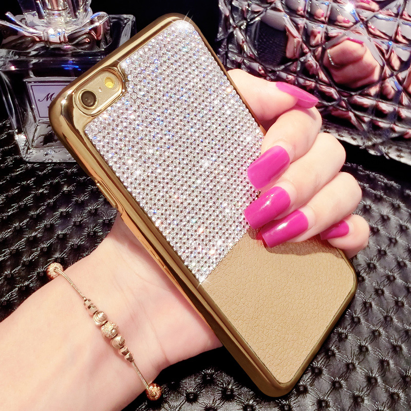 Luxury Rich Rhinestone leather phone covers For Apple iPhone 6 6s6plus 6splus 4 colors(China (Mainland))