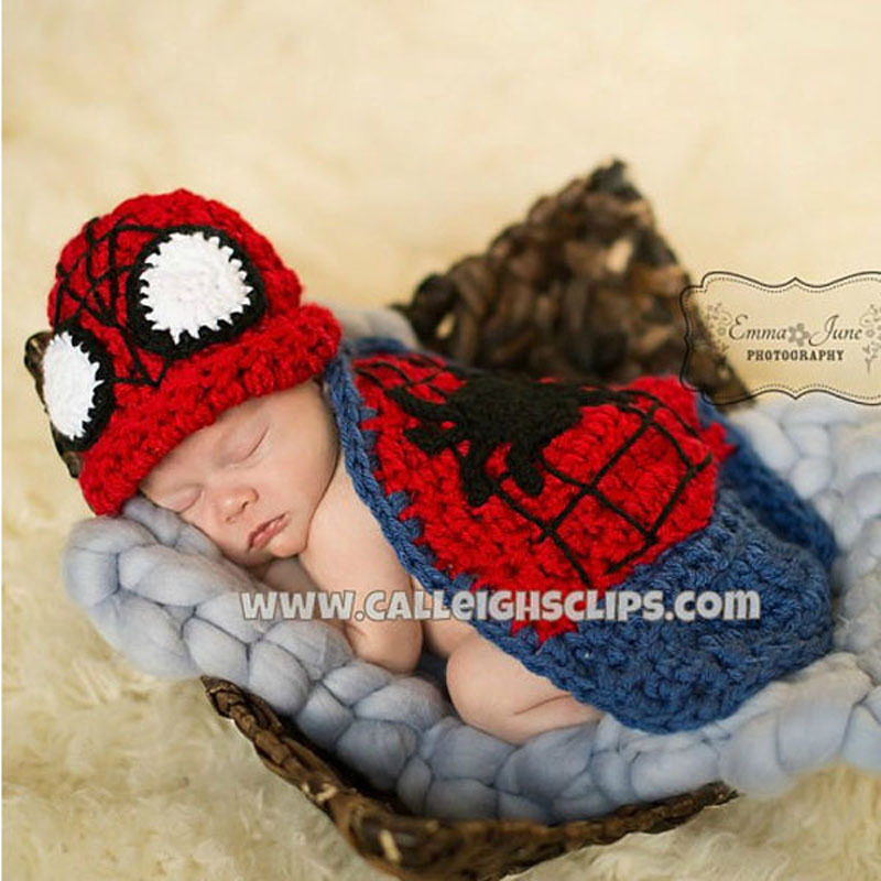 Crochet Pattern Baby Boy Girl Spiderman Beanie Hat with Cape Newborn Photography Props Costume Knitted Baby Hat H119(China (Mainland))