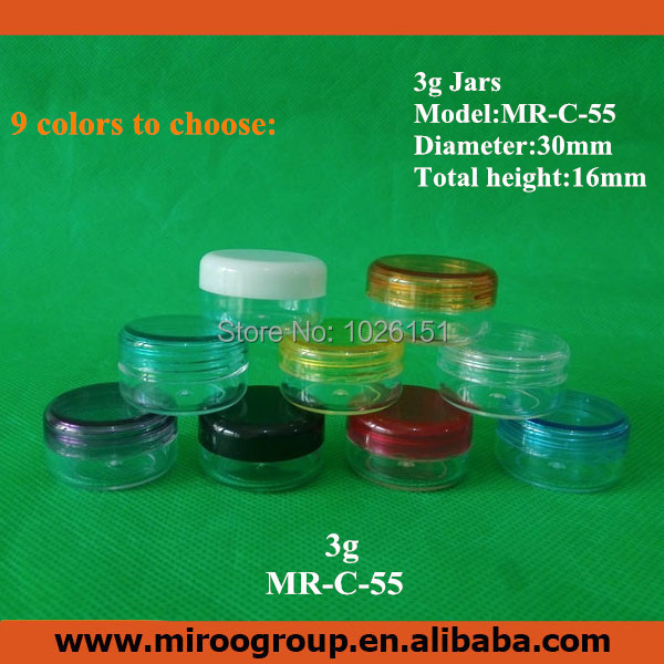 FreeShip 100 2pcs 3 gram 3g plastic jar empty cosmetic containers sample containers small round plastic