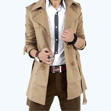 free shipping 2015 Autumn  Trench Men Double Breasted Trench Men's Outerwear Casual Coat Men's Jackets 59(China (Mainland))