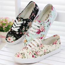 fresh new 2014 canvas shoes female casual sneaker low flat cotton-made lazy shoe single shoes flower printed platform  women 517(China (Mainland))