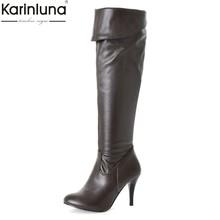 Karinluna Cổ Điển Trang Sức Giọt Lớn Kích Cỡ 50 Mỏng Giày Cao Gót Giày Nữ Người Phụ Nữ 2019 Sexy Đảng Nữ Cao Đến Đầu Gối giày N(China)