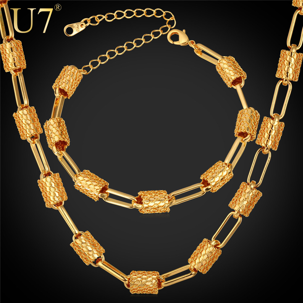 U7 Dubai African Gold Plated Jewelry Set For Men Women Platinum Plated 8MM Wide Big Chunky Bracelet Necklace Set Ethiopian S793(China (Mainland))