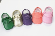 Fashion new gold pink orange Newborn Baby Moccasins Soft Moccs Kids Shoes Baby Prewalker Tassels PU Leather Shoes  First Walkers(China (Mainland))