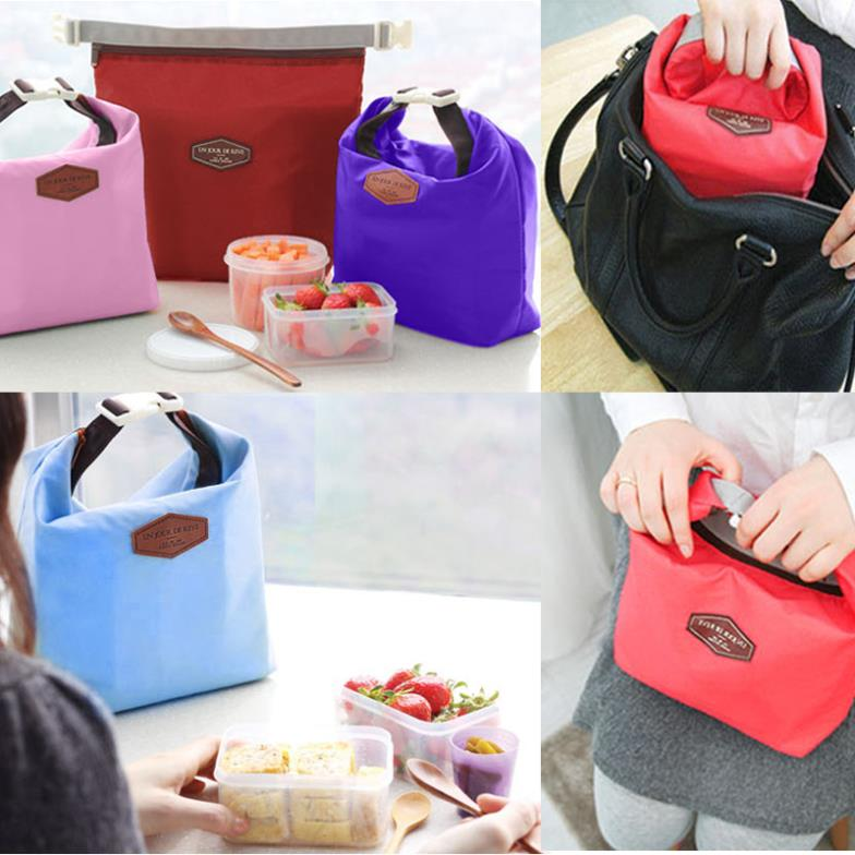 6 Colors Waterproof Insulated Lunch Food Carrying Bag Thermal Cooler Picnic Pouch Bag Portable(China (Mainland))