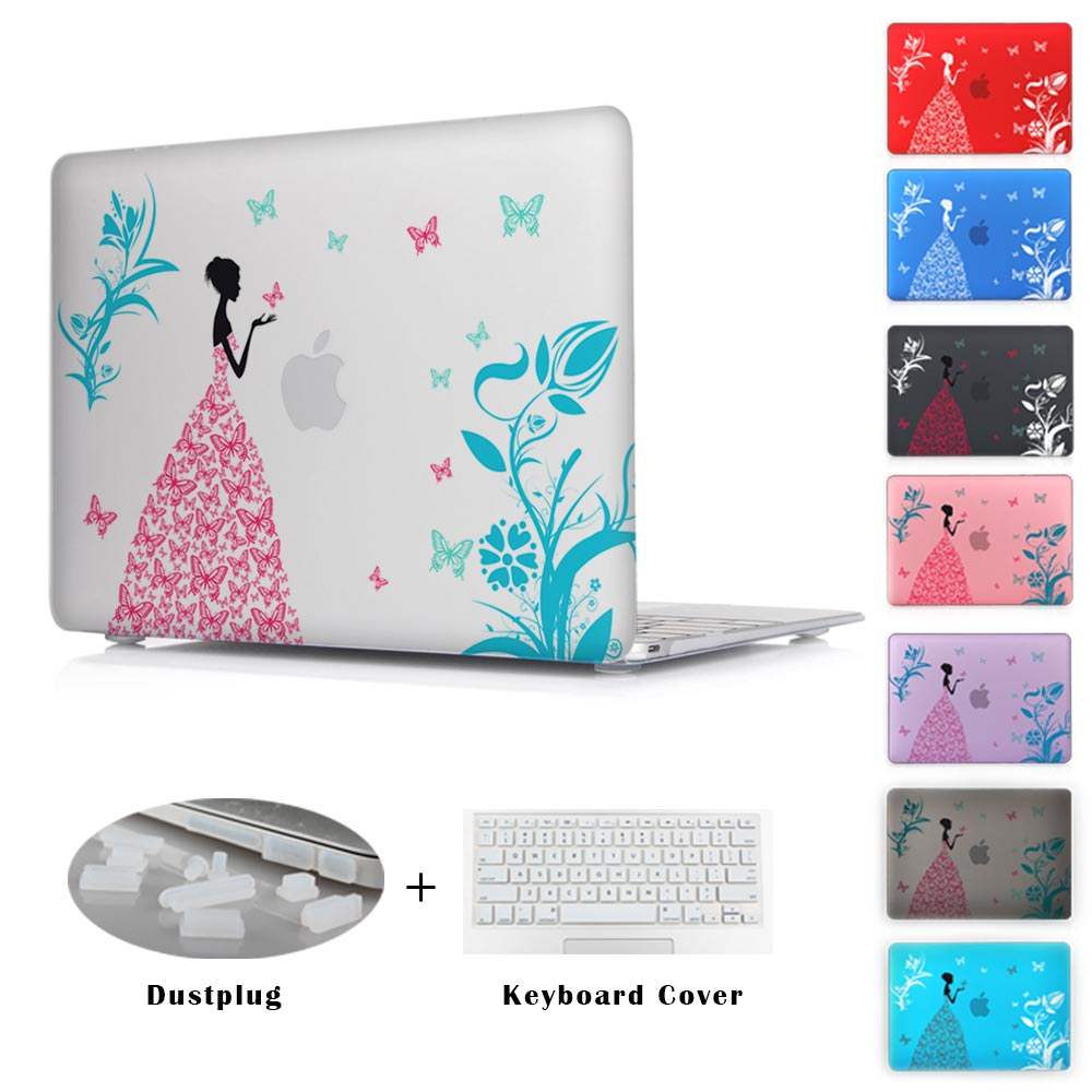 Fashion Color Print Cover For Apple Macbook Pro 13 15 / Mac Pro 13 12 15 With Retina Crystal Case For Air 11 13 Butterfly Girl(China (Mainland))