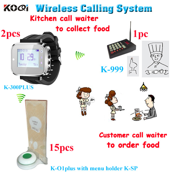 Kitchen to waiter paging system kitchen call waiter to collect food with 1 keypad 2 smart watches 15 table button menu holder(China (Mainland))
