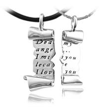 Dali Newest Design Romantic Love Letter Lovers Couples Men Women Necklace Set Platinum Plated PN24(China (Mainland))