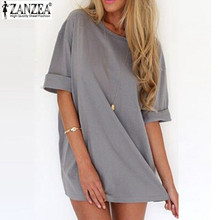 Buy ZANZEA 2017 Top Fashion Summer Women Dress Casual Loose Sexy Vestidos Ladies Short Sleeve Solid Mini Dresses Plus Size S-4XL for $5.12 in AliExpress store