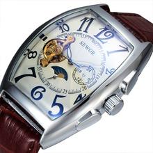 2016 Sewor Brand Men Classic Skeleton  Mechanical Watch Leather Tonneau Case  Fashion Automatic Mechanical Wristwatch SWQ01(China (Mainland))