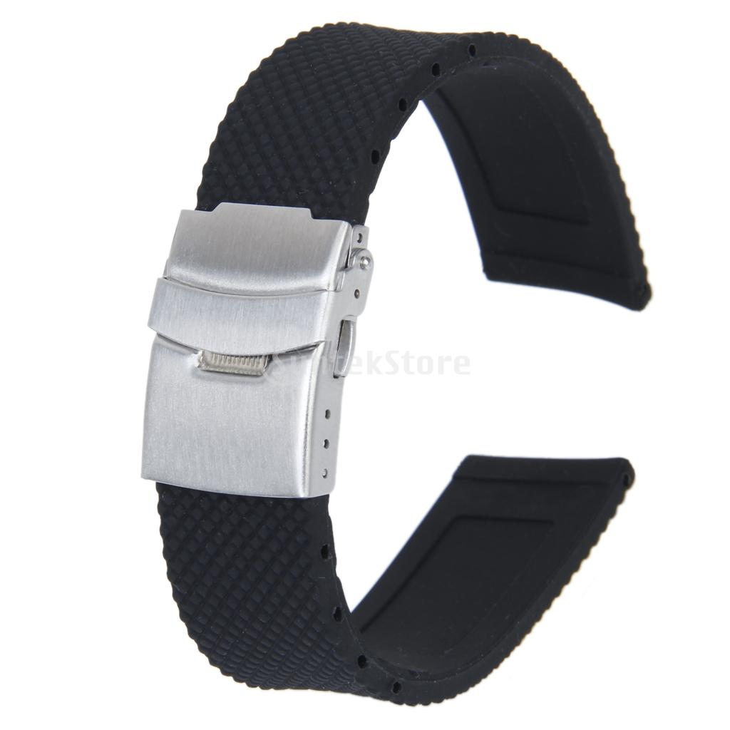 New 2014 Brand New Sports Black Silicone Rubber Watch Strap Band Deployment Buckle Waterproof 22mm(China (Mainland))