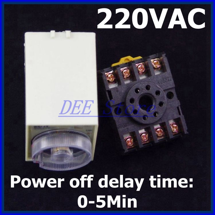 220VAC Power off delay Time Range 0-5 minutes ST3PF Timer Delay Relay with base PF083A(China (Mainland))