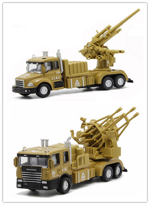 Alloy 1:32 Anti-aircraft gune truck Alloy Diecast pull back Flashing sound Electric model car for kids toys(nuobeile011)(China (Mainland))