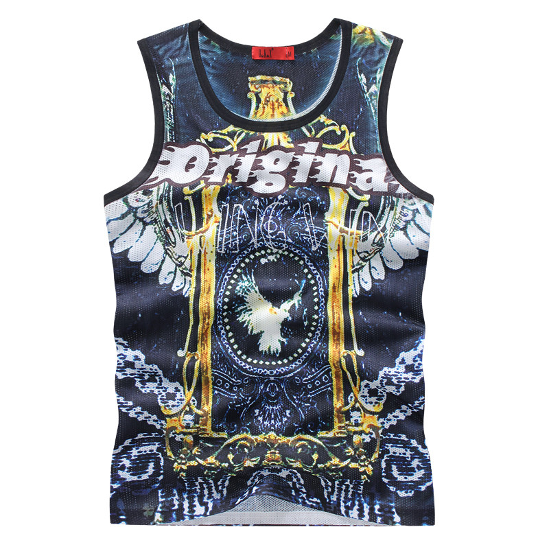 Mens Eagle Anime Tank tops Male O-neck Sleeveless Basketball Clothes Breathable Fitness Top Quality Swag Tee-Shirts Gymshark(China (Mainland))