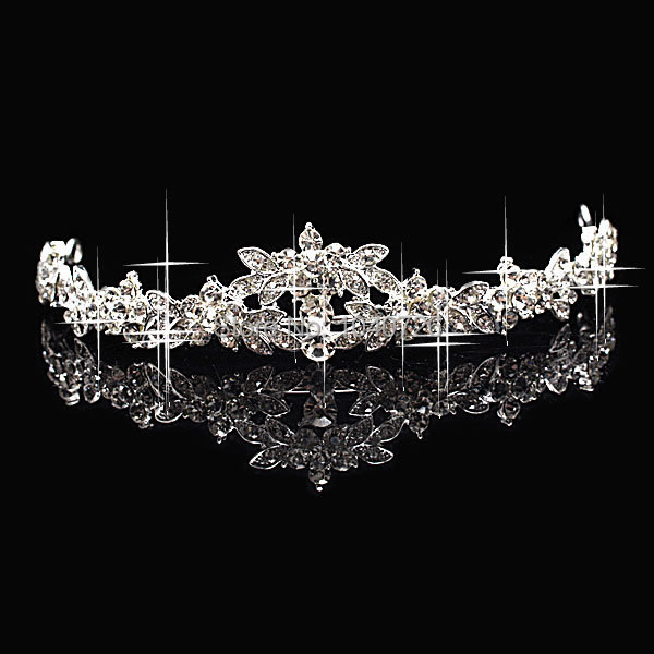 Stylish Woman Wedding Party Tiara Flower Crystal CZ Rhinestone White Gold Plated Hairbands Accessary - Blue Stone Jewelry store