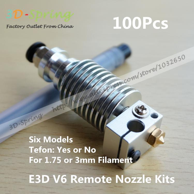 100 unids E3D V6 remoto boquilla Kits 1.75 mm 3 mm con Teflon de larga distancia calefacción extrusora de cabezal de impresión de calefacción del bloque 3D boquilla(China (Mainland))