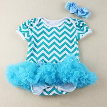 Newborn Girl Lace Wavy Stripe Baby Rompers