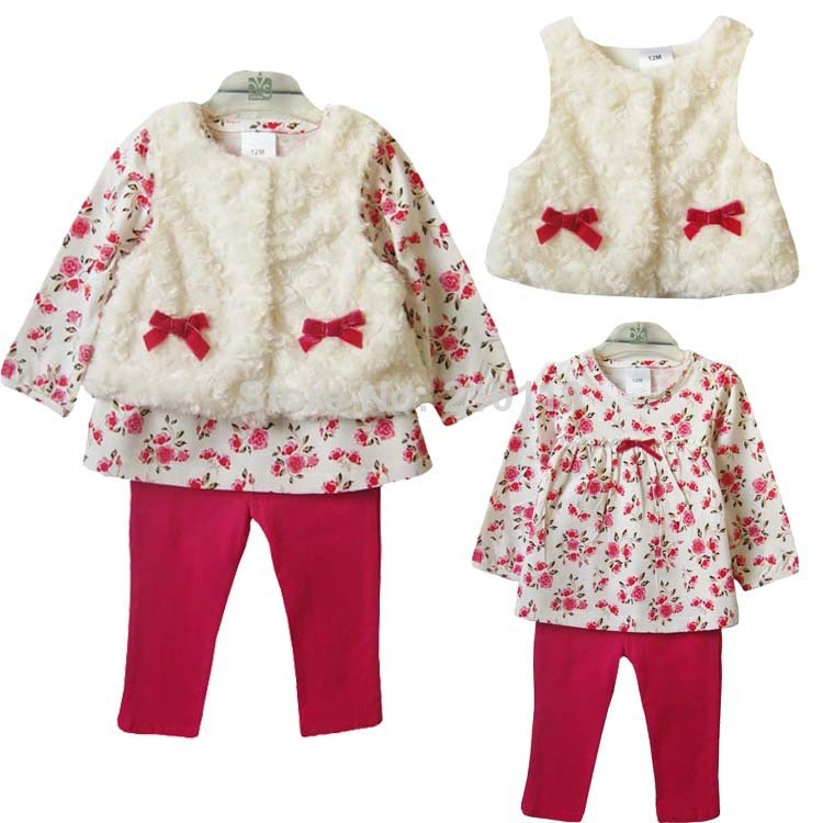 Retail 2015 new style baby girl's set spring autumn winter clothing set tops+pans+vest kids clothes sets baby girl clothes(China (Mainland))